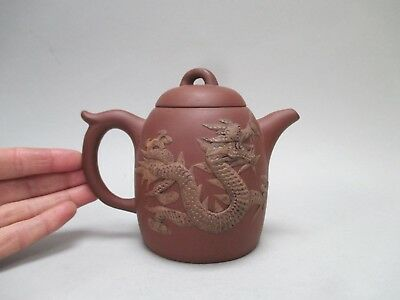 ANTIQUE YIXING TEAPOT with APPLIED DRAGON DECORATION