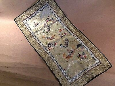 Old Chinese embroidery silk table runner  23 by 11 1/2 inches