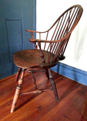Antique Continuos Arm Braceback WINDSOR CHAIR Late 1700's
