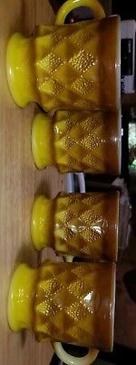 4 Anchor Hocking Fire King KIMBERLY MUGS~YELLOW & BROWN  EXCELLENT VINTAGE CNDTN