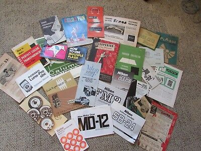 Vintage 25+ Camera and Photography Manuals, Pamphlets and Ads