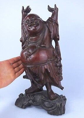ATTRACTIVE LARGE Antique WOODEN figure of BUDDHA with STAND