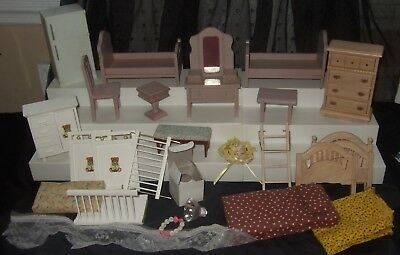 Vintage Miniature Doll House Furniture Chair Tables Baby Bed Dressers Fabric LOT