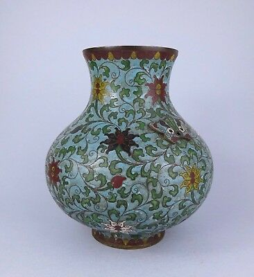 LARGE CHINESE CLOISONNE VASE decorated with LOTUS FLOWERS