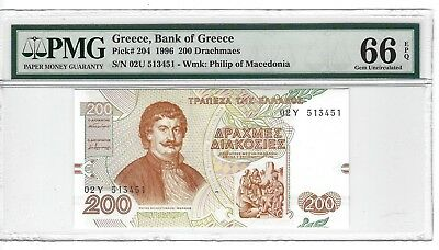 P-204 1996 200 Drachmaes, Bank of Greece, PMG 66EPQ  GEM +