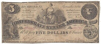 CSA $5.00 Note T36 1862