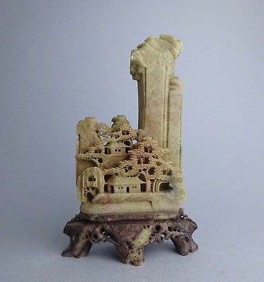 ANTIQUE CHINESE SOAPSTONE CARVED VILLAGE in the MOUNTAINS