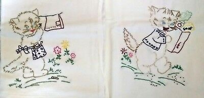 Lot of 2 Vintage Embroidered Sack Cloth Tea Towels Cats & Kittens Wash Day