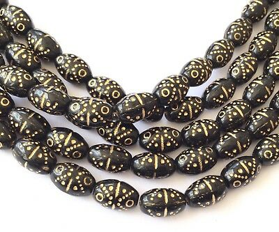 24 Vintage Trade Opaque Oval Black w/Gold Decor Czech Bohemian Glass beads