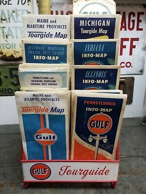 Gulf Map Holder Plus Over 30 Maps Gas Oil Service Station