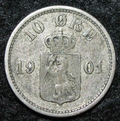 NORWAY ~ 10 Ore ~ 1901 ~ SILVER ~ EUROPE Coin ~ BIN-#299