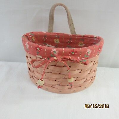 LONGABERGER  2006 Small Scalloped Pocket COMBO (Basket, Liner, & Protector)