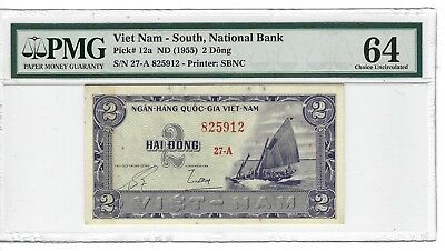 P-12a 1955 2 Dong, Viet Nam- South National Bank, PMG 64 Nice