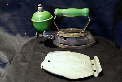 1937 Coleman No. 10 Green Magic Light Iron with stand
