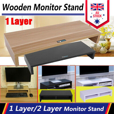 Wooden Monitor Stand LCD Computer Monitor Riser Desktop Display Bracket AU