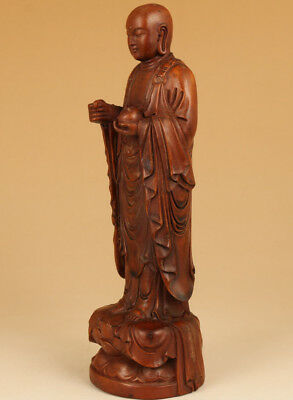 Rare Old boxwood hand carving Buddha blessing statue figure Feng shui decoration