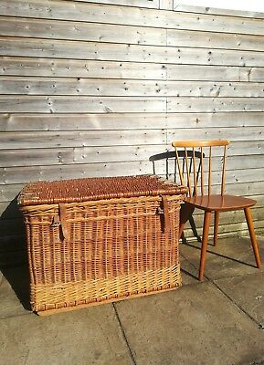 Large Antique Victorian wicker linen basket steamer trunk
