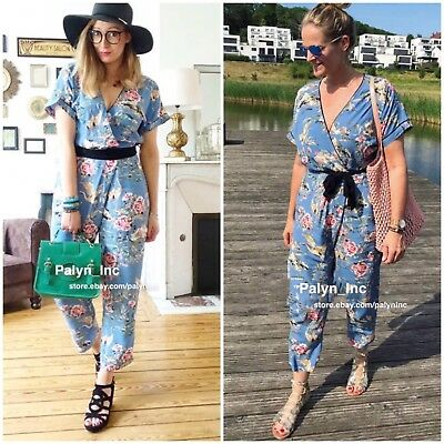 2c112c53bb1 Last NWT ZARA SS18 FLORAL PRINT WRAP JUMPSUIT WITH TIES BLUE 3101 216 L