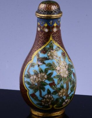Very Fine 19Thc Chinese Cloisonne Enamel Gilt Bronze Bird Landscape Snuff Bottle
