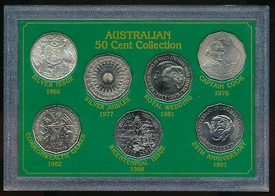 Australia 50 Cents 50c Collection Silver 1966 - 1991 RAM UNC In Perspex Case