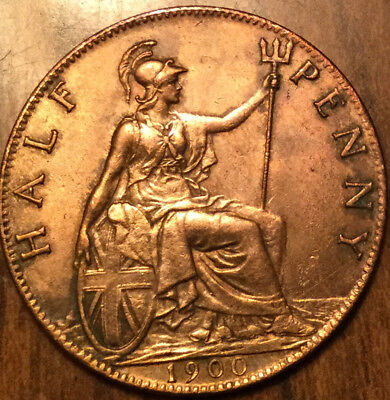 1900 UK GB GREAT BRITAIN HALF PENNY - Fantastic example! The very best!