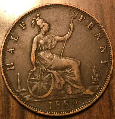 1889 Uk Gb Great Britain Half Penny ! Nice Old Coin !