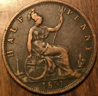 1891 Uk Gb Great Britain Half Penny ! Nice Old Coin !