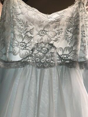 French Maid Vintage Soft Blue Double  Chiffon Night Gown Small