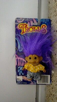 TROLL - 17 cm purple hair, Toys N' Things - NEW ON CARD Rare