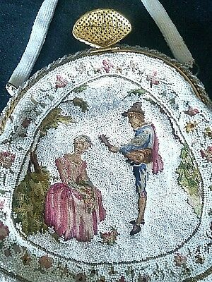 Needlepoint Needlework and Seed Pearl Vintage French Purse Handbag Excellent