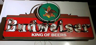 "Anheuser Busch Budweiser ""king Of Beers"" Neon Light Eagle Beer Bar Sign"