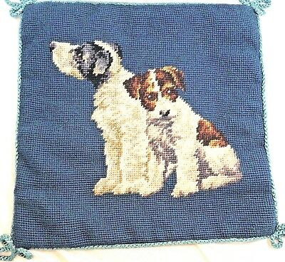 "TERRIERS BY Katha Diddel Beautiful 'Doggies' Needlepoint 12""X12"" Velveteen Back"