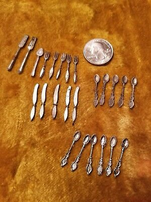 Casted Silverware 24 pieces 1:12 Vintage Dollhouse Miniature metal Forks Knives