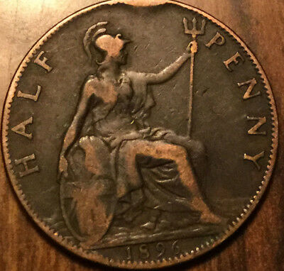 1896 Uk Gb Great Britain Half Penny ! Nice Old Coin !