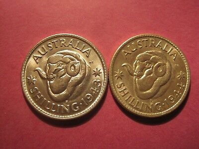 1943 s and 1944 s Shillings in AU or better