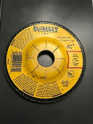 "(1) DeWalt 4-1/2"" x 1/4"" x 7/8"" Arbor Grinding Wheel for Metal & Stainless Steel"