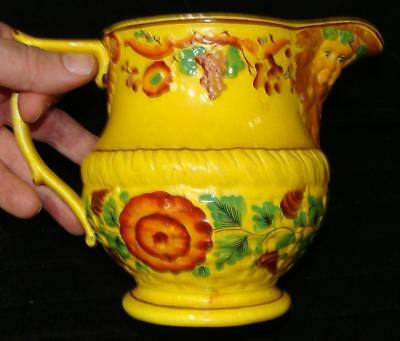 Rare Staffordshire Canary Creamware Jug, Molded Floral Design, Bearded Man Spout