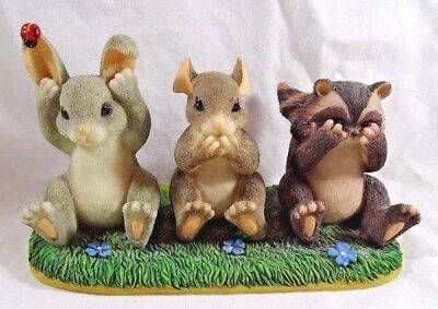 Charming Tails Figurine Hear See and Speak No Evil