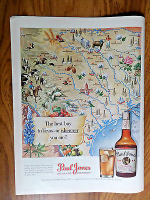 1950 Paul Jones Whiskey Ad Map of the State of Texas