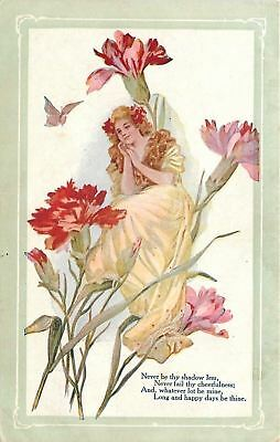 Fantasy~Tiny Lady In Yellow Gown in Huge Flowers~Red Pink Carnations~Butterfly