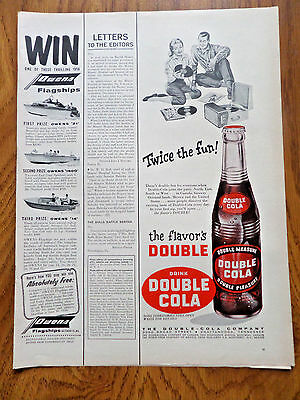 1956 Double Cola Soda Pop Bottle Ad  Twice the Fun Playing Records Phonograph