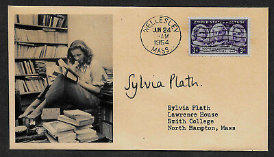 Sylvia Plath Poet collector envelope w original period 1950s stamp *OP1186