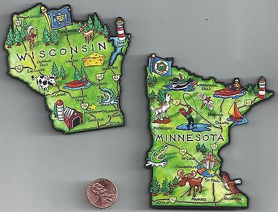 WISCONSIN WI and MINNESOTA  MN  JUMBO   ARTWOOD STATE MAP MAGNET SET OF 2  NEW