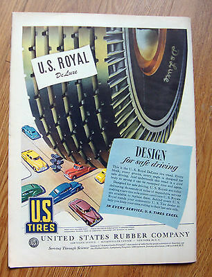 1945 US Rubber Tires Ad  Chevrolet Ford Plymouth Chrysler Olds Buick Cadillac ?