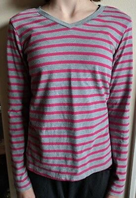 Girls Faded Glory Grey/Hot Pink Striped Long Sleeve Shirt Size L 10/12