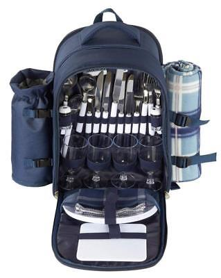 Picnic Basket Backpack Set for 4 with Insulated Cooler Compartment,...