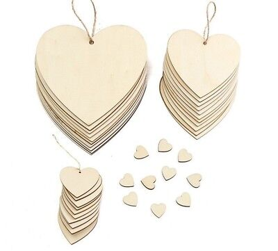 Heart Shaped Wood Chip With Rope Hanging Tags Ornaments Craft Christmas Tree New