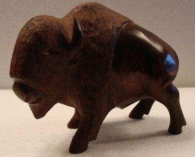 Ironwood BUFFALO Figurine Wood Carving