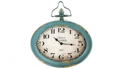 Antique Blue Oval Metal Wall Clock with Top Handle