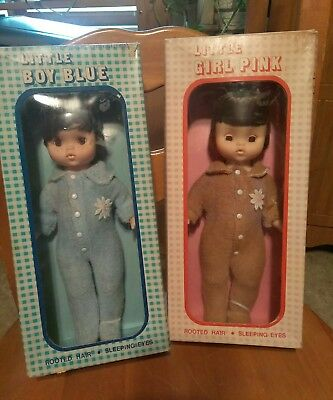 """Vintage 1960s 2 Baby Dolls Richard Toy Co. """"Little Boy Blue & Girl Pink"""" Boxed"""